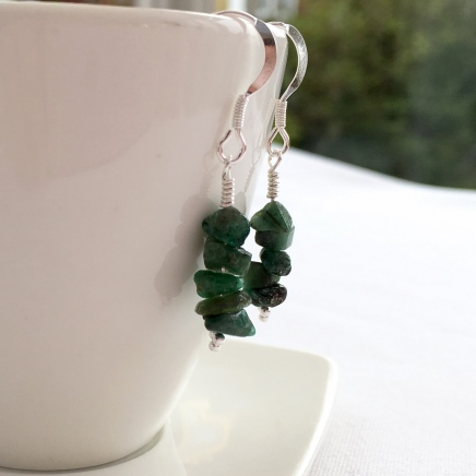 Gorgeous green Emerald earrings with Sterling silver.